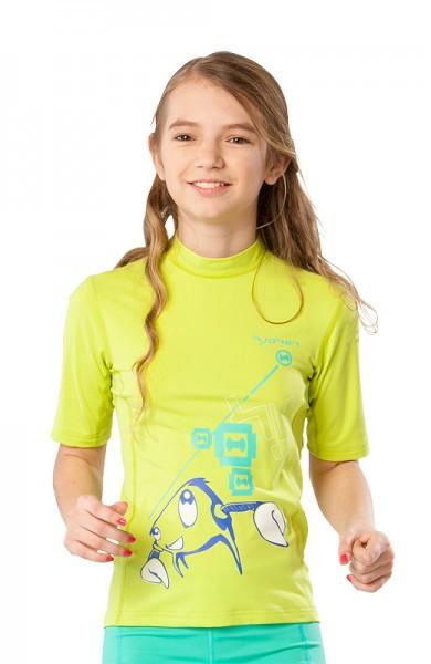 UV Sonnenschutz Kurzarmshirt 'hy!tenk wild lime' für Kinder mit UPF 80 von hyphen