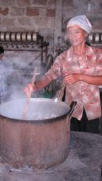 Der Cocon wird aufgekocht
