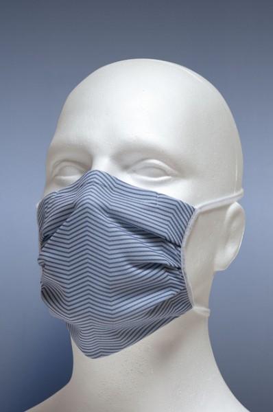 Mund-Nasen-Maske mit Nasenbügel 2-lagig (Erwachsene) von Hyphen, grau gestreift mit UPF 80