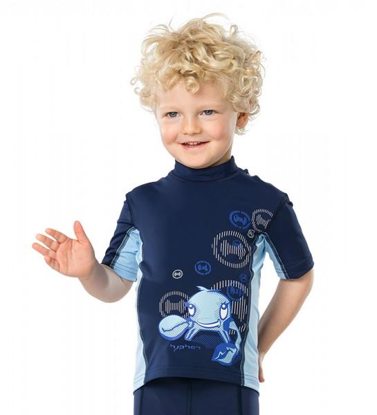 UV Sonnenschutz Kurzarmshirt 'irie blue iris'  für Kinder mit UPF 80 von hyphen