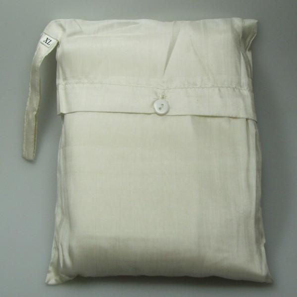 Seidenschlafsack zum Reisen in ecru-weiss 85x250 cm mit Kopftteil