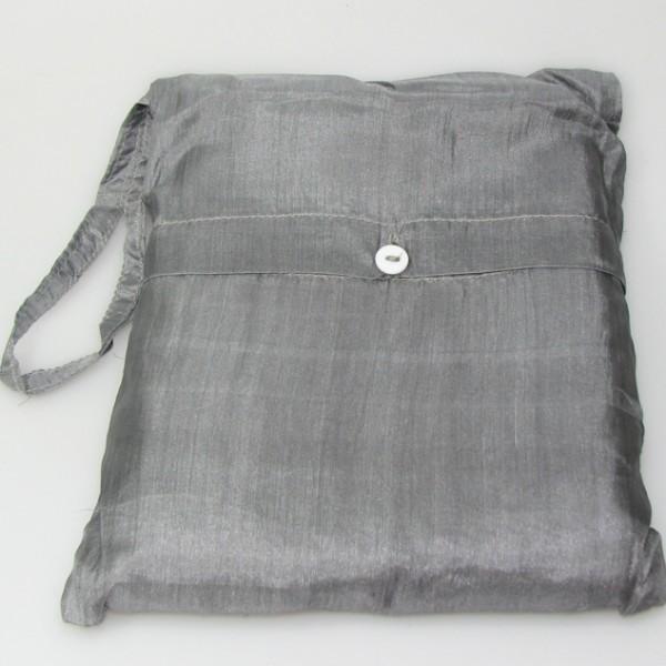 Seidenschlafsack zum Reisen in silbergrau 176x250 cm mit Kopfteil