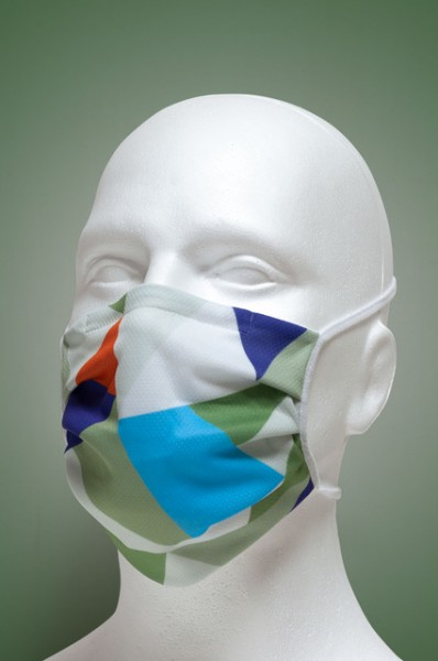 Mund-Nasen-Maske mit Nasenbügel 2-lagig (Erwachsene) von Hyphen, mit farbigen Dreiecken mit UPF 80