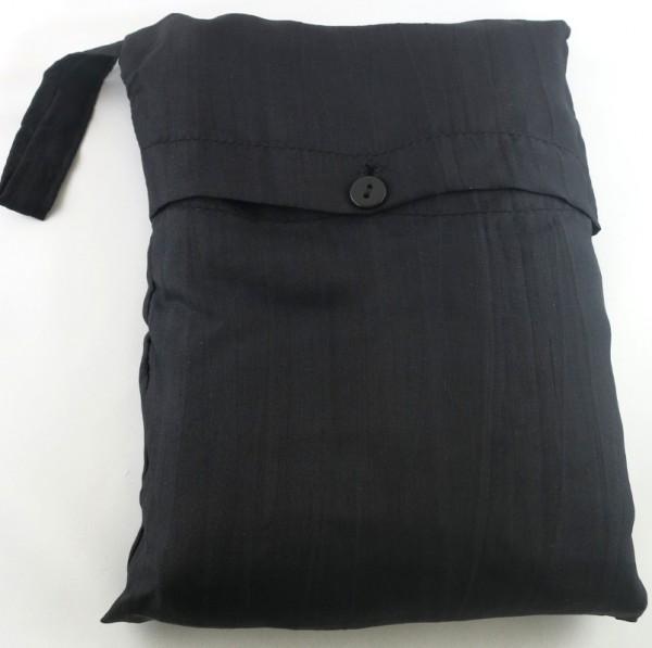 Seidenschlafsack zum Reisen in schwarz 85x250 cm mit Kopftteil