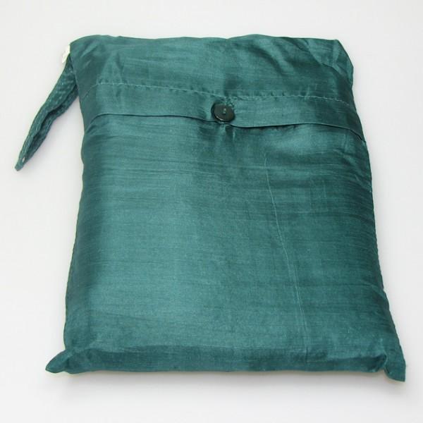 Seidenschlafsack zum Reisen in grün 110x250 cm mit Kopfteil