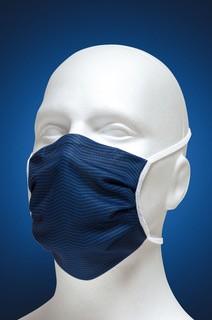 Mund-Nasen-Maske mit Nasenbügel 2-lagig (Erwachsene) von Hyphen in der Farbe blau gestreift mit UPF 80