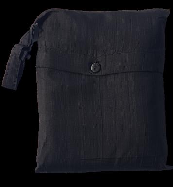 Seidenschlafsack zum Reisen in schwarz 85x300 cm mit Kopftteil