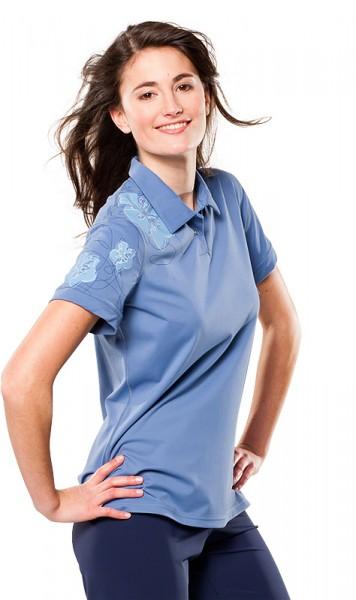 UV Sonnenschutz Kurzarmshirt 'zaffira blue' für Frauen mit UPF 40 von hyphen