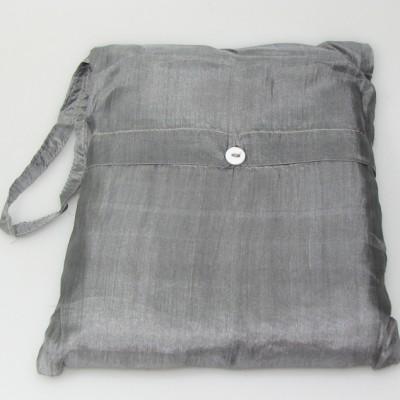 Seidenschlafsack mit Reissverschluss zum Reisen in silbergrau 85x250 cm mit Kopfteil