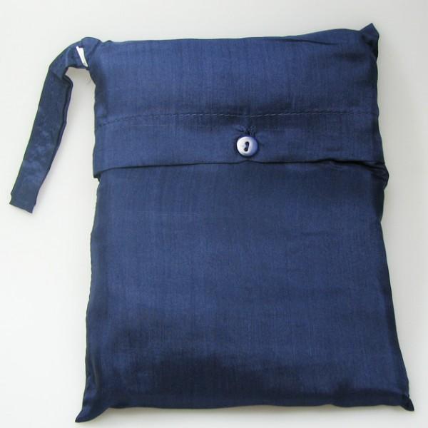 Seidenschlafsack mit Reissverschluss zum Reisen in dunkelblau 110x250 cm mit Kopfteil