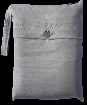 Seidenschlafsack zum Reisen in silbergrau 110x250 cm mit Kopfteil