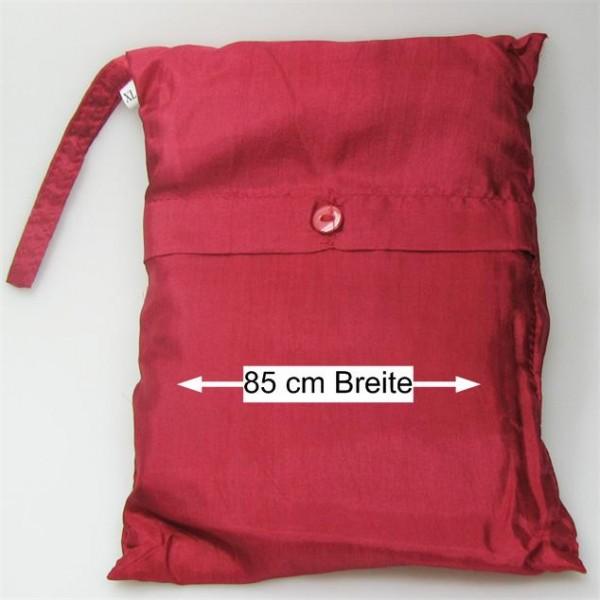Seidenschlafsack zum Reisen in rot 85x250 cm mit Kopftteil