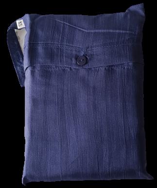 Seidenschlafsack zum Reisen in dunkelblau 85x300 cm mit Kopftteil